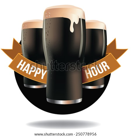 Happy hour dark beer ribbon design EPS 10 vector royalty free illustration for pubs, bars, nightclubs, restaurants, signage, posters, advertising, coasters, web, blogs, articles - stock vector