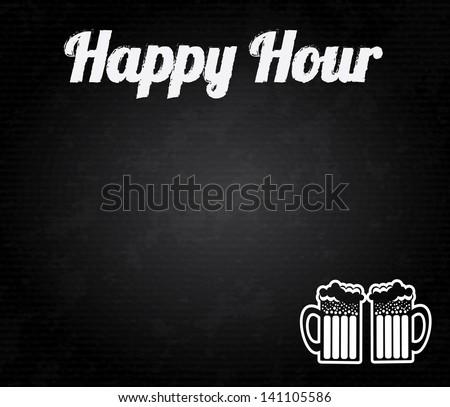 happy hour design over black background vector illustration - stock vector