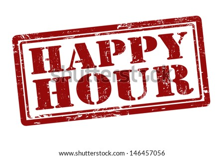 Happy Hour grunge rubber stamp, vector illustration - stock vector