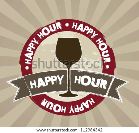 happy hour grunge tag over brown background. vector illustration - stock vector