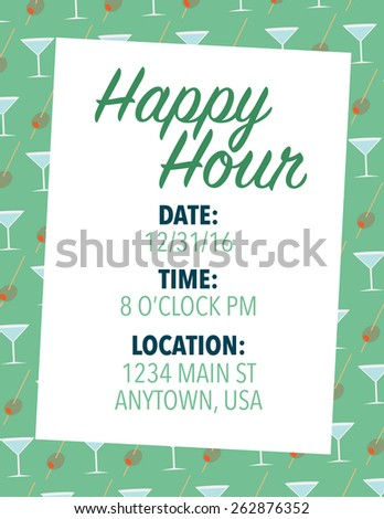 Happy hour invitation over green color background - stock vector