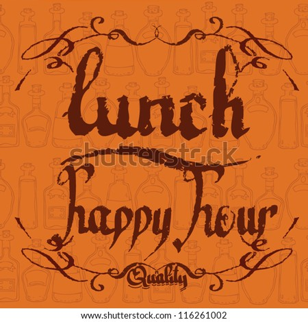 happy hour lunch. offer - stock vector