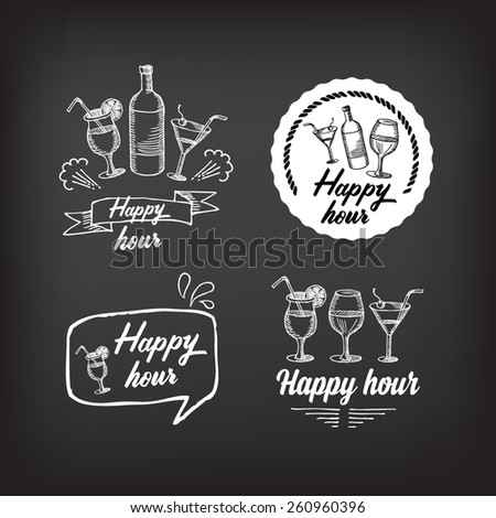 Happy hour party invitation. Cocktail chalkboard banner. - stock vector
