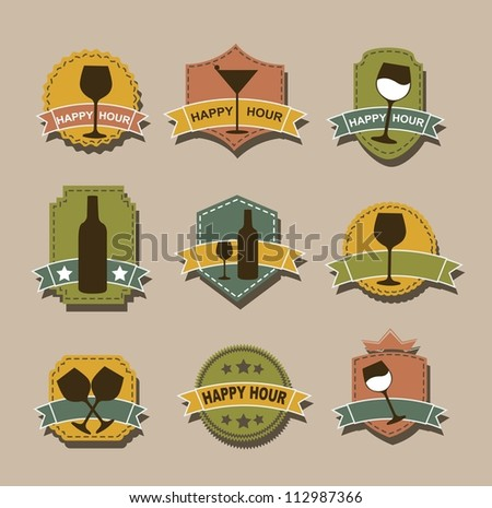happy hour tags over brown background. vector illustration - stock vector
