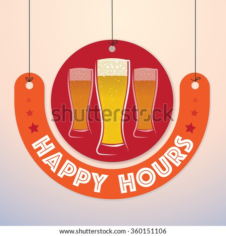 Happy Hours - Colorful Badge, Paper cut-out - stock vector