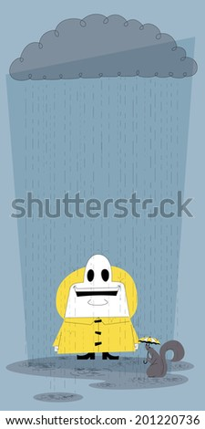 Happy in the Rain: Vector, retro styled, illustration of a happy man standing in the rain. - stock vector