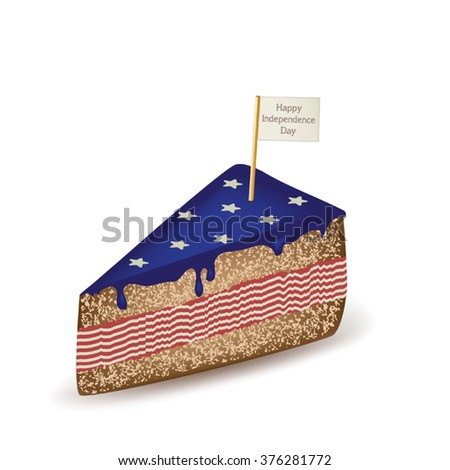 Happy Independence Day American Cake - stock vector