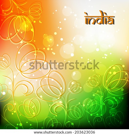 Happy Independence day and Indian Republic Day concept with beautiful floral decorated background in tricolours.eps 10 - stock vector