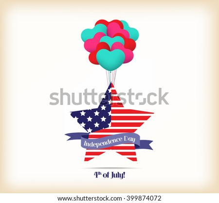 Happy independence day card United States of America. 4 th of July banner illustration design with american flag - stock vector