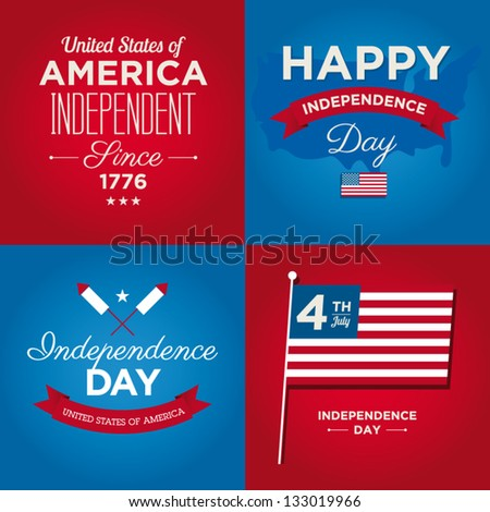 Happy independence day card United States of America, 4 th of July, with fonts - stock vector