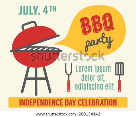Happy Independence Day America Invitation Template Stock Vector