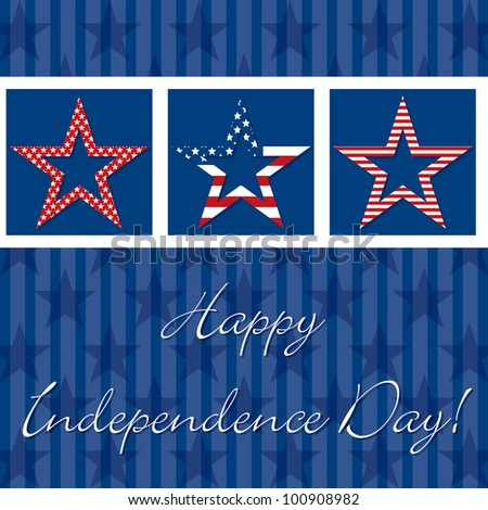 Happy independence Day patterned star card in vector format. - stock vector