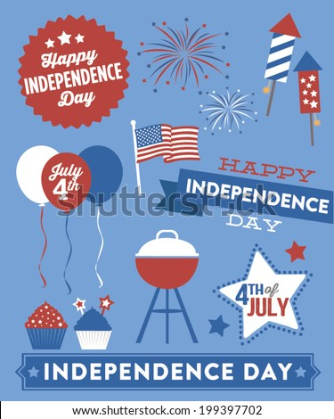 Happy Independence Day Vector Set - Balloons - BBQ Grill - Banner - American Flag - Fireworks - Cupcakes - Bottle Rockets - Fourth of July - July 4th Elements - stock vector