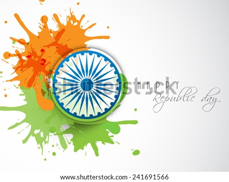 Happy Indian Republic Day celebration concept with Ashoka Wheel on national flag color splash. - stock vector