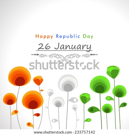 Happy Indian Republic Day celebration concept with beautiful text and flowers in national flag colors on shiny grey background. - stock vector
