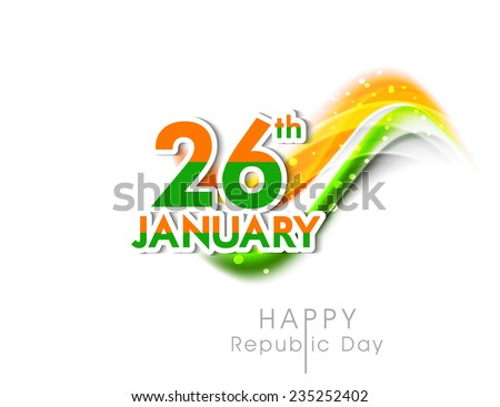 Happy Indian Republic Day celebrations with sticker design of text 26th January and shiny national flag colors on white background. - stock vector