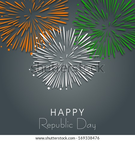 Happy Indian Republic Day concept with beautiful fireworks in national flag colors on grey background.  - stock vector