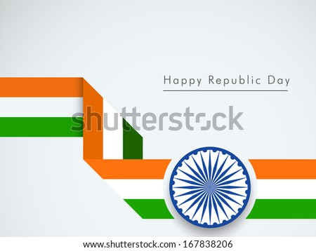 Happy Indian Republic Day concept with stylish stripe in national flag color with ashoka wheel on grey background.  - stock vector