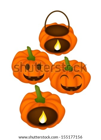 Happy Jack-o-Lantern Pumpkins and Pumpkin Baskets with Candle Light Isolated on White Background, For Halloween Celebration  - stock vector