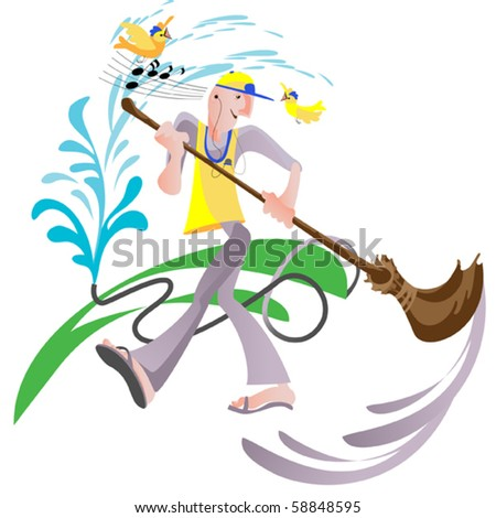 Happy janitor  doing his job gladly - stock vector