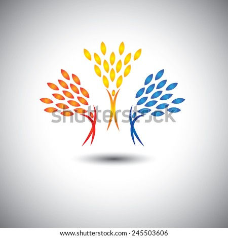 happy, joyful, excited people as trees of life - eco concept vector. This graphic icon also represents joy, happiness, friendship, education, peace, development, healthy growth, sustainability - stock vector