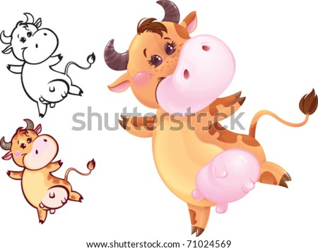 Happy jumping cow may be used as your corporate character - stock vector