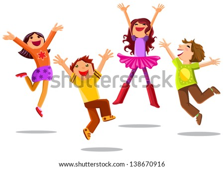happy jumping kids isolated on white background - stock vector