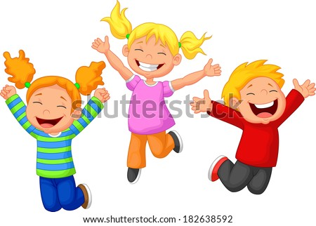 Happy kid cartoon - stock vector
