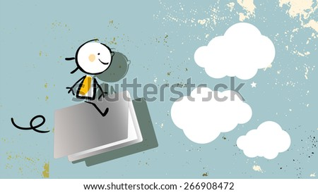Happy kid, flying on laptop. Technology education creative concept, e learning. Line art, sketch, doodle, vector illustration.  - stock vector