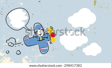 Happy kid, girl pilot flying in a blue airplane, with speech balloon. Vector doodle style illustration.  - stock vector