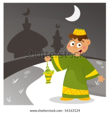 Happy kid going to the mosque at the Souhour  in Ramadan - stock vector