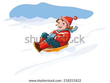 Happy kid sledding, winter snow fun. Vector illustration. Copy space - stock vector