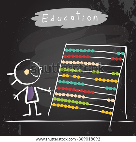 Happy kid with abacus. Education vector illustration, chalk on blackboard hand drawn doodle drawing.  - stock vector