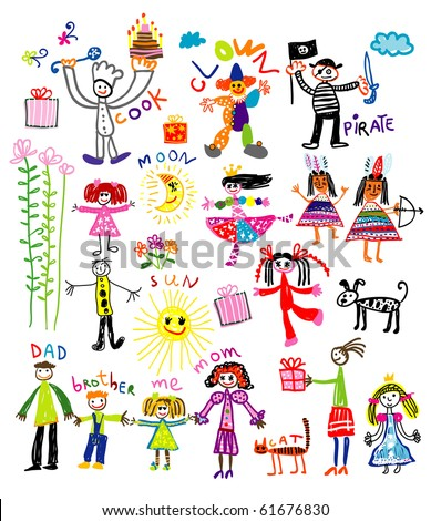 happy kids - stock vector