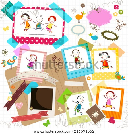happy kids and photo frame - stock vector