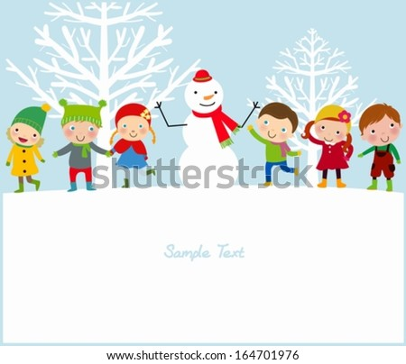 happy kids and snowman - stock vector