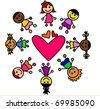 happy kids around heart - stock photo