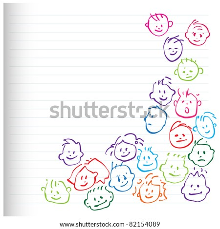happy kids - cartoony heads icons - stock vector
