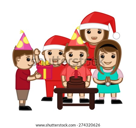 Happy Kids Celebrating Birthday - stock vector