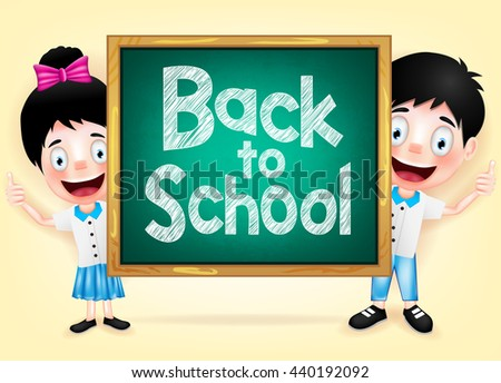 Happy Kids Character Hiding Behind the Green Chalkboard with Back to School Writings  - stock vector