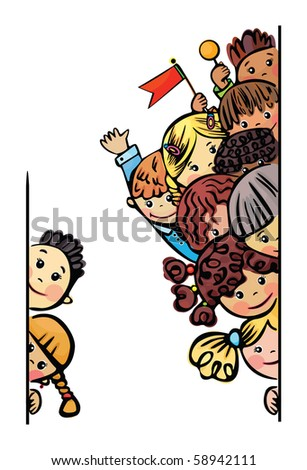 Happy kids  different races stand by  blank - stock vector