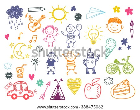 Happy kids doodle set, children drawings - stock vector
