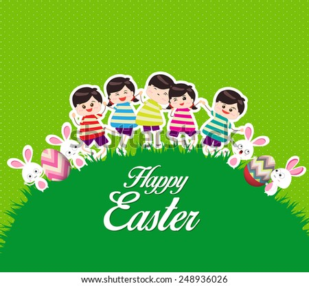 Happy kids easter eggs play bunny cute - stock vector