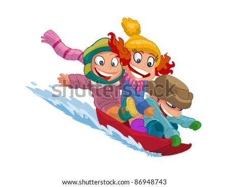 happy kids go on a sled - stock vector