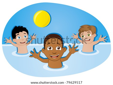 happy kids have fun with ball in swimming pool - stock vector