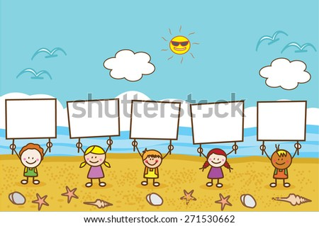 Happy kids holding banner at beach - stock vector