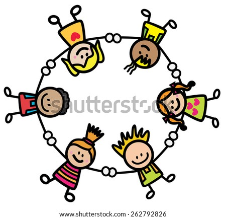 Happy kids holding hand - stock vector