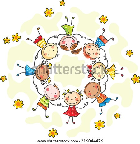 Happy kids in a circle - stock vector