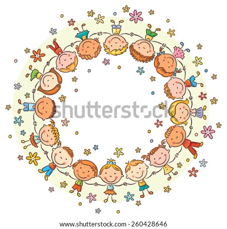 Happy kids in a circle holding hands, round frame with a copy space - stock vector