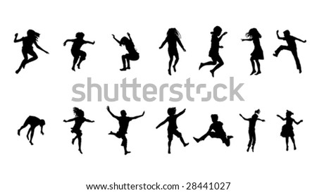 happy kids jumping collection - stock vector
